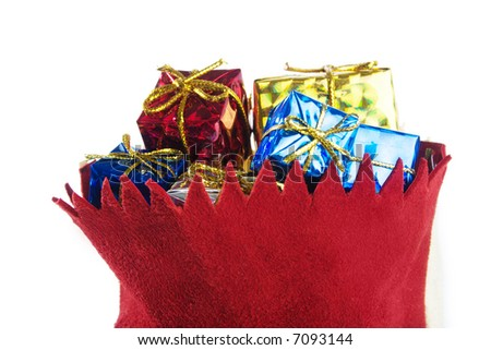 Bag with gifts isolated on white. - stock photo