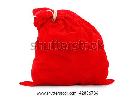 Bag with gifts on white background
