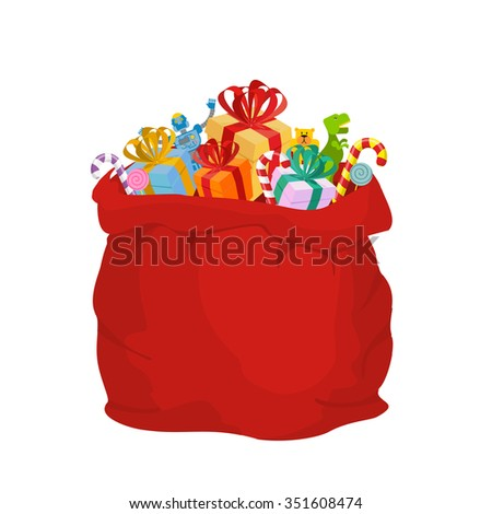 Bag with gifts Santa Claus. Big Red festive holiday bag. Many gifts for kids: Dinosaur and robot bear and sweets. Mint Christmas candy. Illustration for new year. - stock photo