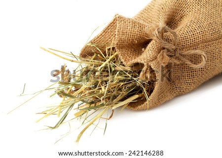 Bag with hay - stock photo