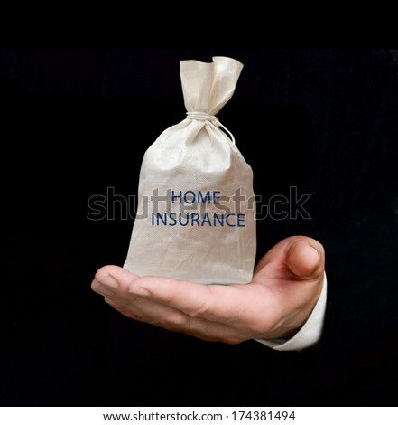 Bag with home insurance - stock photo