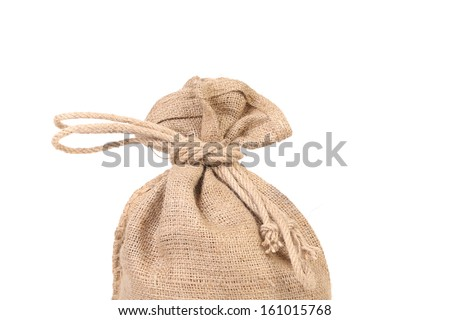Bag with many euro banknotes. Isolated on a white background. - stock photo