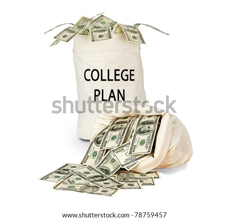 Bag with money for college