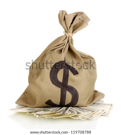 Bag with money isolated on white - stock photo