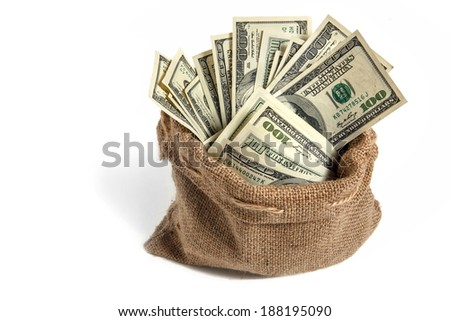 Bag with money / studio photography of bag with hundred dollar bills