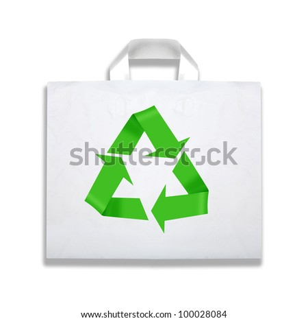 Bag with recycle symbol on white with shadow. - stock photo