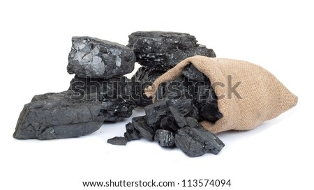 Bag with scattered charcoal - stock photo