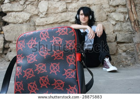 Bag with stars and black haired girl - stock photo