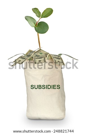 Bag with subsidies - stock photo