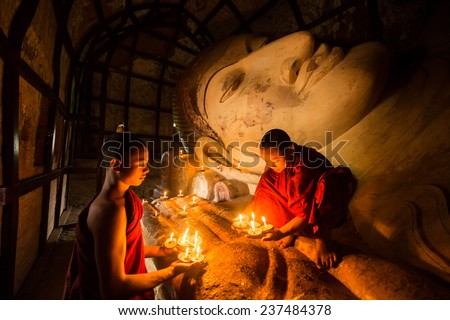 BAGAN MANDALAY MYANMAR NOVEMBER 2014 : Monk in meditation inside temple in Bagan Mandalay Myanmar 10 November 2014  - stock photo