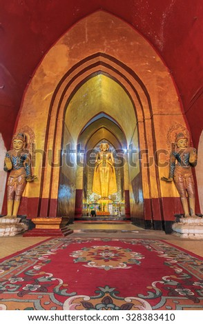 BAGAN, MYANMAR - August  20:  Buddha in temple old at bagan city August  20, 2014 in Bagan, Myanmar