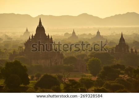 Bagan, MYANMAR - DEC 17: The Temples of Bagan(Pagan), Mandalay, Myanmar on December 17, 2014. - stock photo