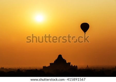 Bagan, Myanmar - March 15th 2016 - Hot air balloons flying over the temples of Bagan heritage sites in Myanmar, Asia.