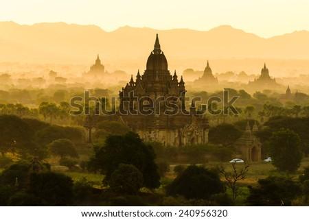 Bagan sunrise, recognised as one of the greatest ancient buddhism city in the work, Myanmar, Asia