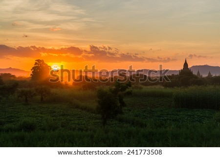 Bagan temples at sunset - stock photo