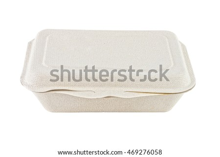 Bagasse box for food isolated on white background. It is made from nature.
