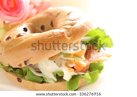 Bagel and smoked salmon Sandwich