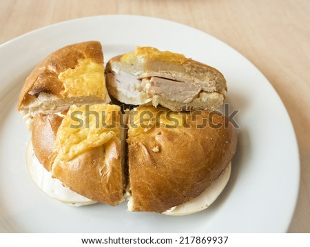 Bagel bread with ham and cheese