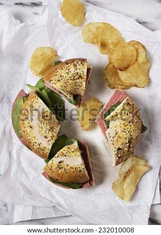 Bagel Sandwich with Ham - stock photo