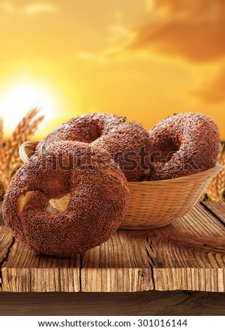 Bagel-Turkish bagel with natural background - stock photo