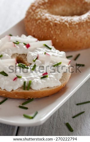 bagel with cream cheese - stock photo