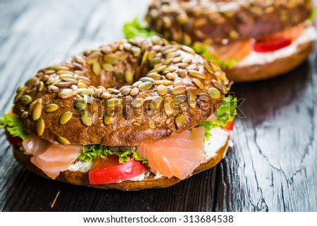 bagel with cream cheese and smoked salmon - stock photo