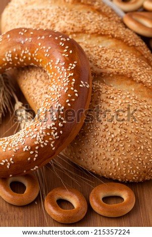 Bagel with sesame seeds - stock photo