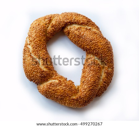 bagel with sesame seeds isolated on white background
