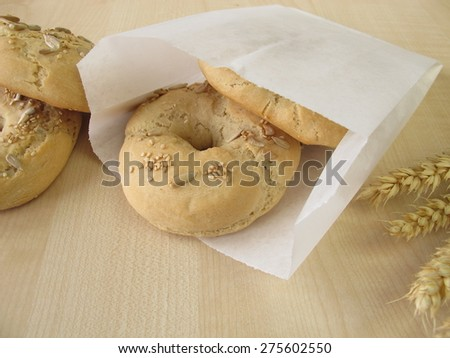 Bagels in paper bag - stock photo