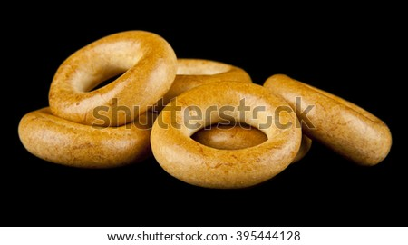 bagels on a black background - stock photo