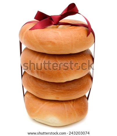 bagels stack gift isolated over white background - stock photo
