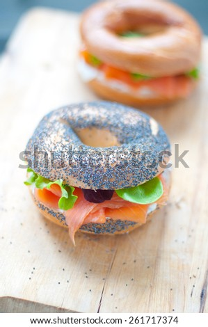 Bagels with salmon and fresh cream - stock photo