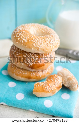 bagels with sesame - stock photo