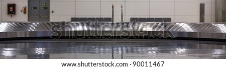 Baggage claim belt at the airport in Madrid - stock photo
