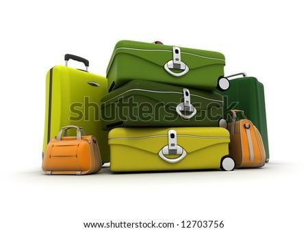 Baggage kit in green , yellows, and orange - stock photo