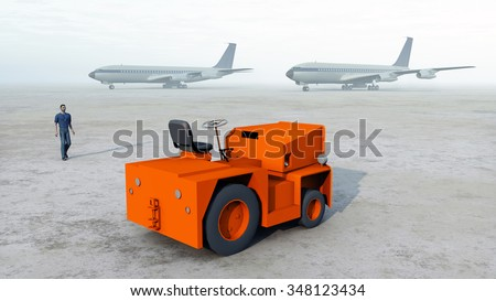 Baggage tug Computer generated 3D illustration - stock photo