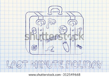 baggage with summer inspired stickers, last minute holidays - stock photo