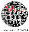 Baghdad capital city of Iraq info-text graphics and arrangement concept on white background (word cloud) - stock