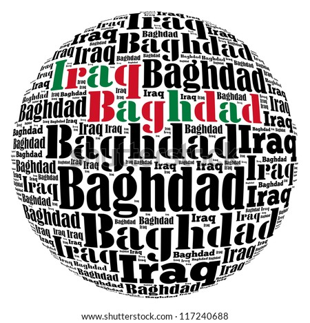 Baghdad capital city of Iraq info-text graphics and arrangement concept on white background (word cloud) - stock photo