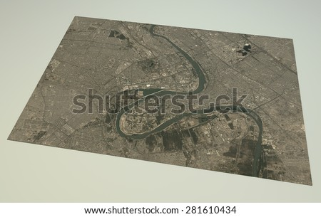 Baghdad, satellite view, 3d map, Syria. Element of this image are furnished by NASA - stock photo