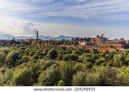BAGHERIA, ITALY - OCTOBER 04 2015: Villas of Bagheria on Sicily, Italy on a hot october evening