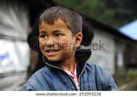 Baglung, Nepal. August 25-2010 Nepalese boy who lives in the path of the Annapurna