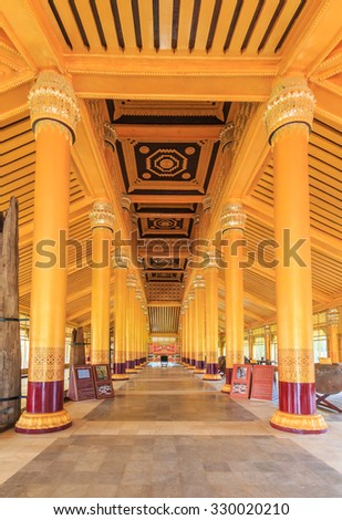 BAGO-MYANMAR-AUGUST 19:  inside of Kambawza Thardi Palace on August  19, 2014 in Bago, Myanmar