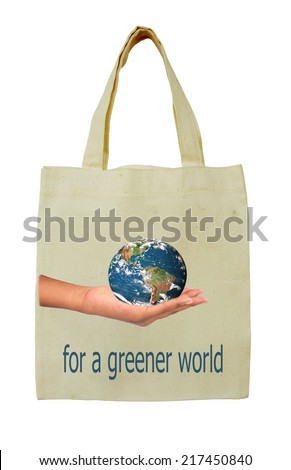 Bags decorated with the image of the concept of environmental protection. Elements of this image furnished by NASA - stock photo