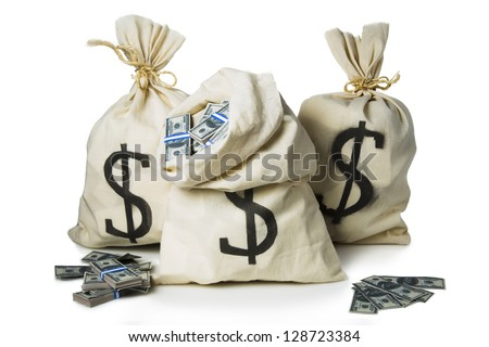 bags filled with lots of money - stock photo