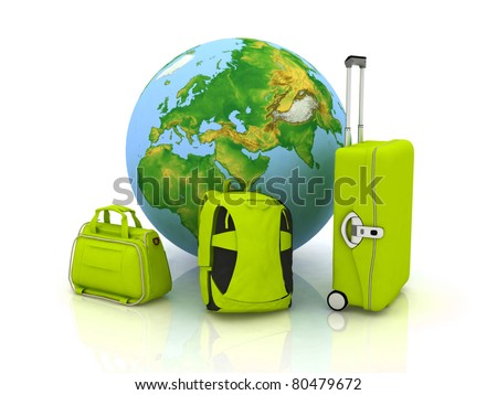 bags for travel on the background of the globe
