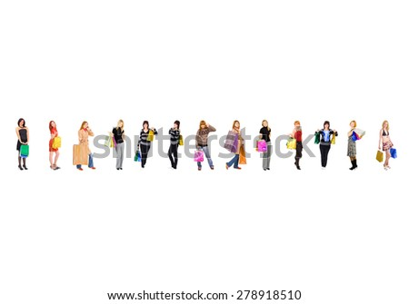 Bags Full Women Shopping  - stock photo