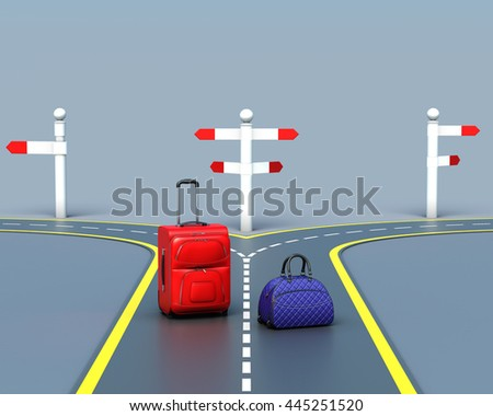 Bags make the choice of the road. Travel concept. 3d rendering - stock photo