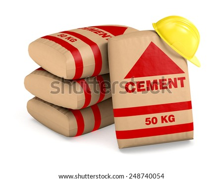 bags of cement and a safety helmet on white background (3d render) - stock photo