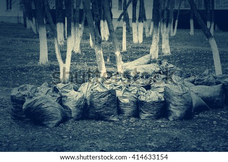 Bags of garbage near the trees in the city yard, toned - stock photo